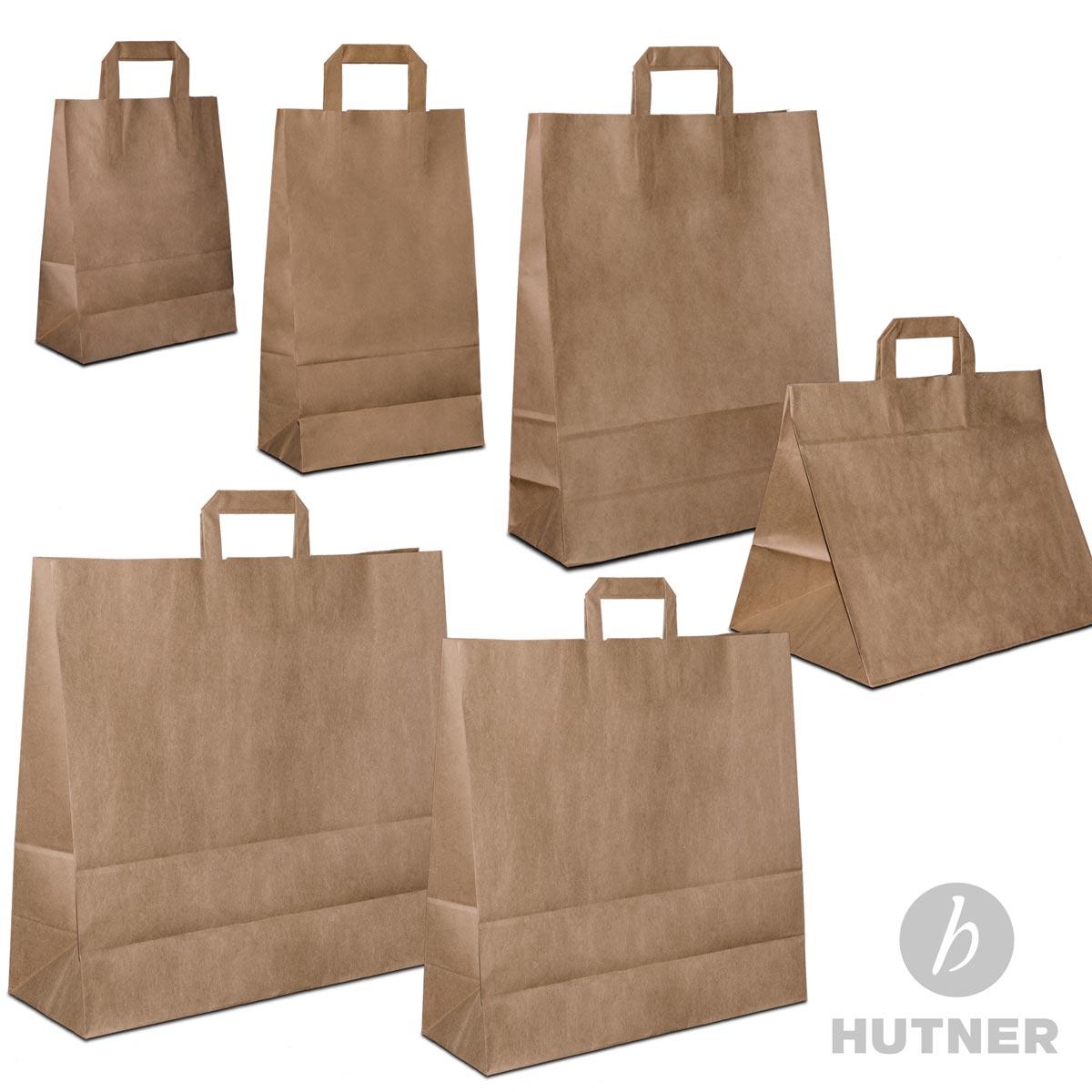 hutner papiert ten braun flachhenkel papiertragetaschen papiertaschen klein gro ebay. Black Bedroom Furniture Sets. Home Design Ideas