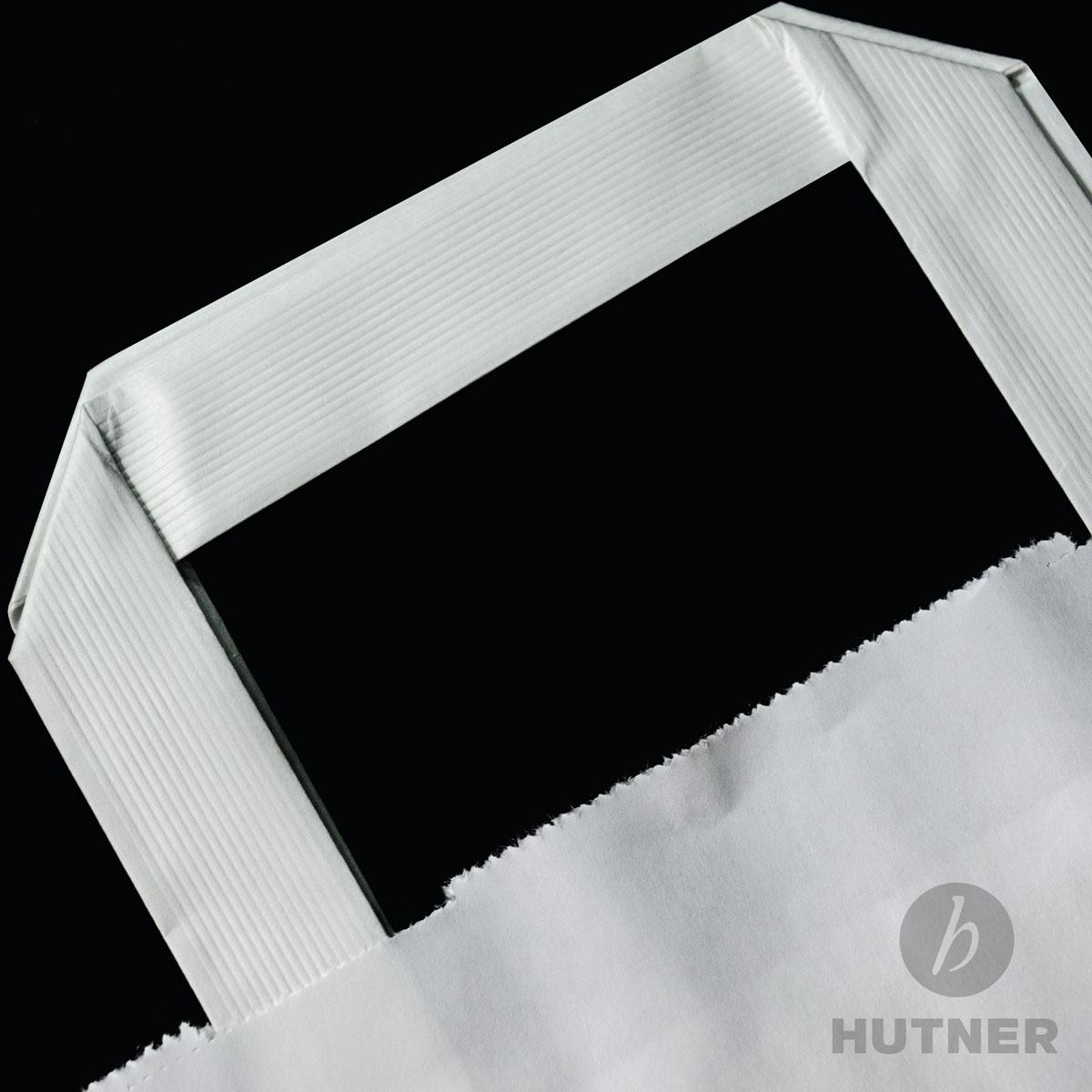 HUTNER Papiertüten weiss Flachhenkel Papiertragetaschen ...