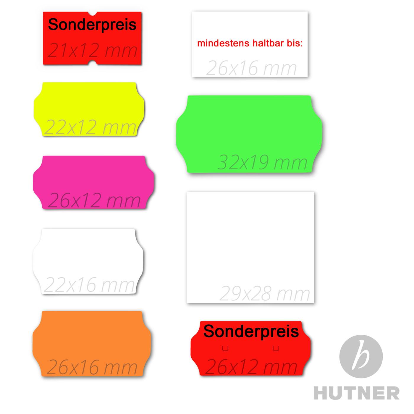 Preisetiketten 26x16mm RECHTECKIG weiss Etiketten für Auszeichner weiß labels